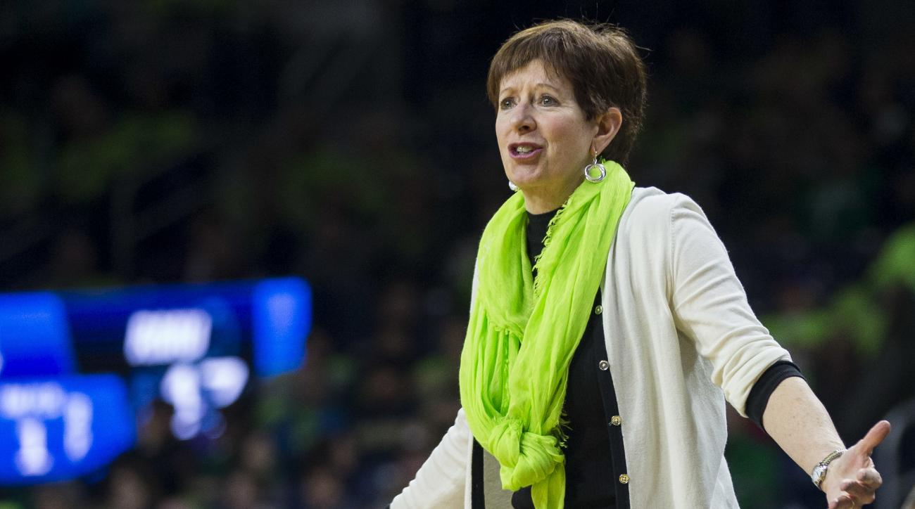 Notre Dame head coach Muffet McGraw questions an official during a first-round game against Robert Morris in the women's NCAA college basketball tournament, Friday, March 17, 2017, in South Bend, Ind. (AP Photo/Robert Franklin)