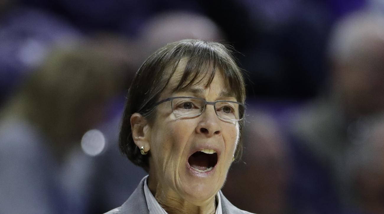 Stanford head coach Tara VanDerveer talks to her players during the second half of a first-round game in the NCAA women's college basketball tournament against New Mexico State Saturday, March 18, 2017, in Manhattan, Kan. Stanford won 72-64. (AP Photo/Cha