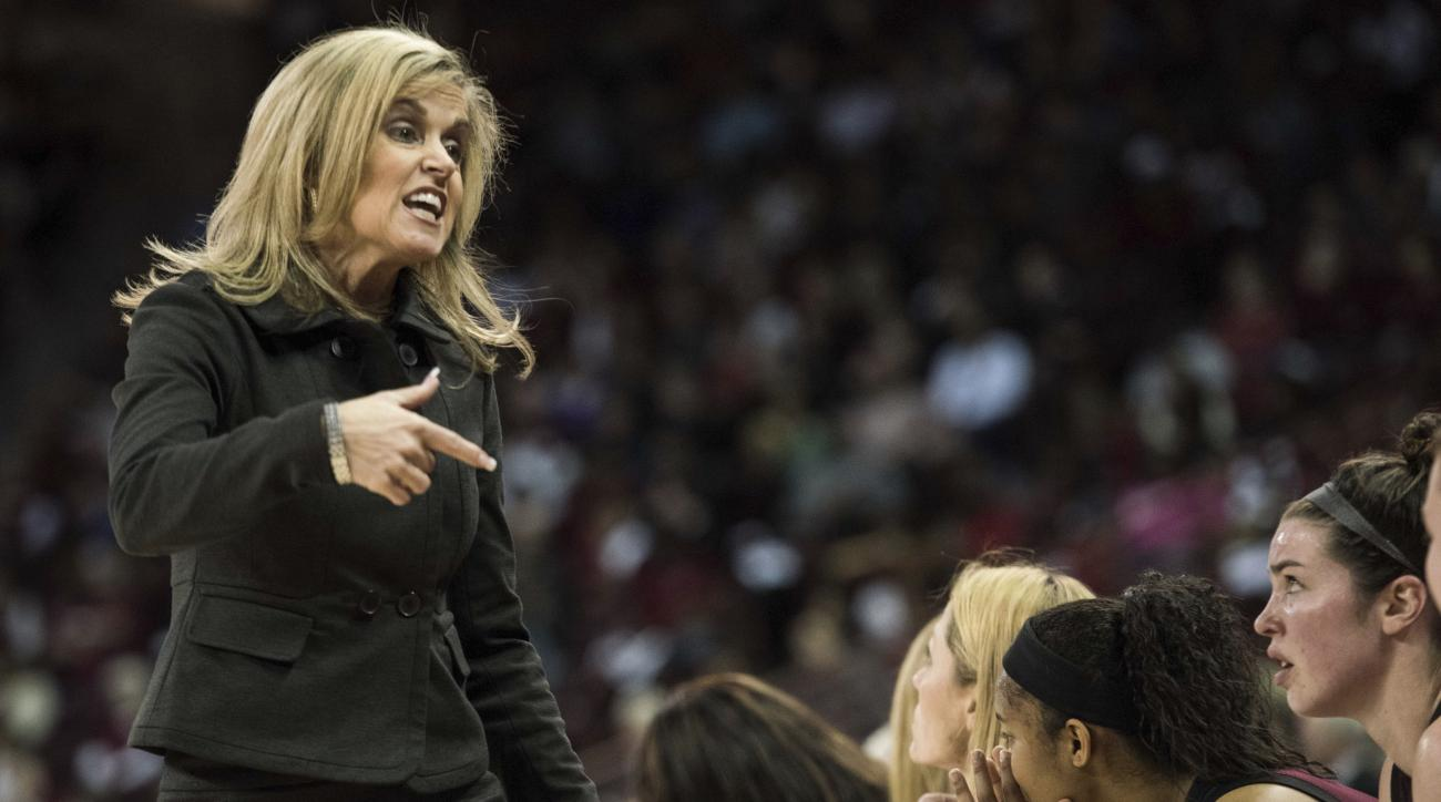 Arizona State head coach Charli Turner Thorne communicates with players during a second-round game against South Carolina in the NCAA women's college basketball tournament Sunday, March 19, 2017, in Columbia, S.C. (AP Photo/Sean Rayford)