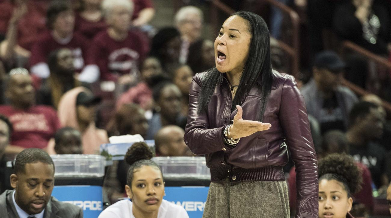 South Carolina coach Dawn Staley talks to an official during a second-round game against Arizona State in the NCAA women's college basketball tournament Sunday, March 19, 2017, in Columbia, S.C. South Carolina defeated Arizona State 71-68. (AP Photo/Sean