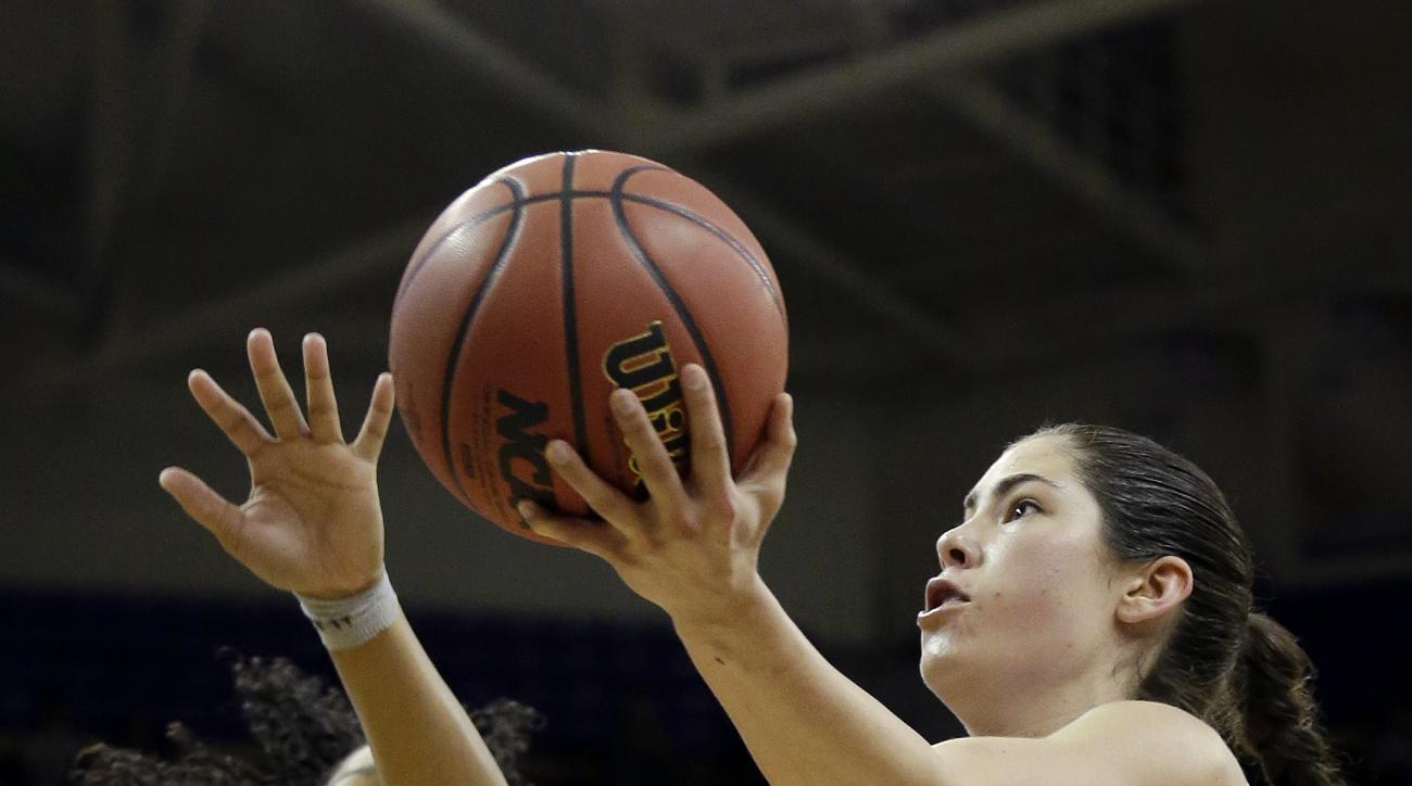 Washington's Kelsey Plum, right, drives past Oklahoma's Gioya Carter during the second half of a second-round game in the NCAA women's college basketball tournament Monday, March 20, 2017, in Seattle. Plum led all scorers with 38 points as Washington won
