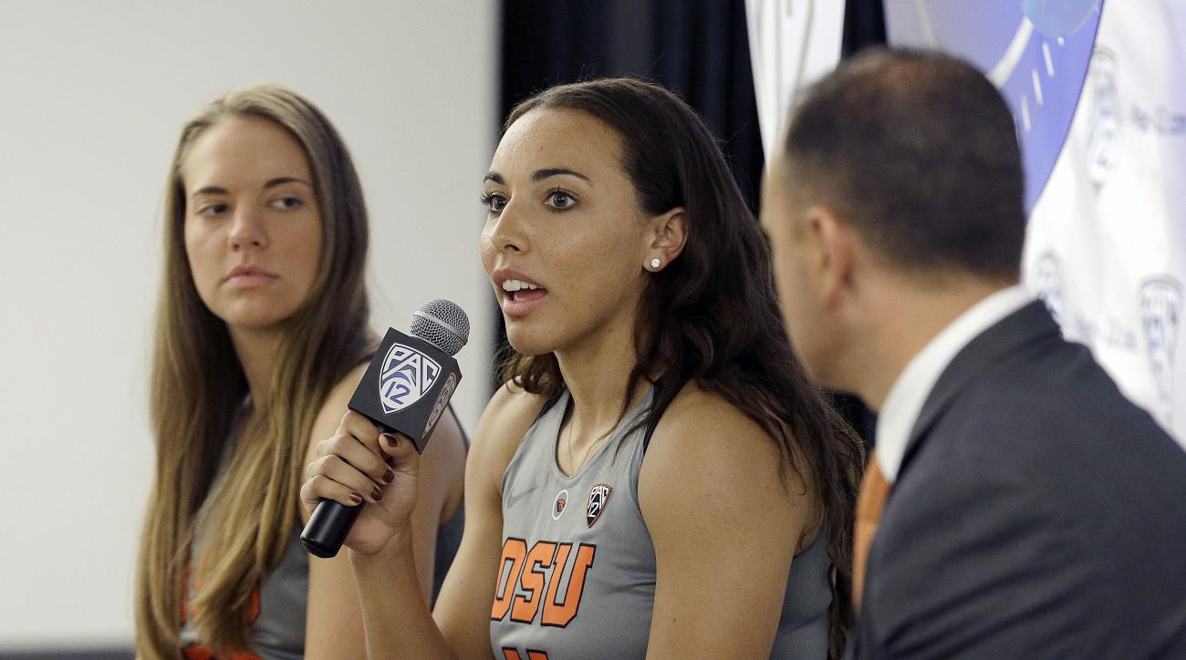 FILE - In this Oct. 20, 2016, file photo, Oregon State's Gabriella Hanson, center, speaks between Sydney Wiese, left, and head coach Scott Rueck during Pac-12 media day in San Francisco,. After four seasons at Oregon State, Hanson and Wiese fondly recalle