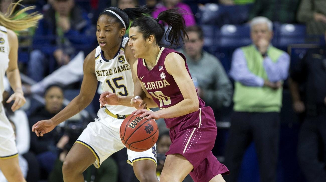 FILE - In this Feb. 26, 2017, file photo, Florida State's Leticia Romero (10) drives against Notre Dame's Lindsay Allen (15) during the first half of an NCAA college basketball game in South Bend, Ind. Romero and the third-seeded Seminoles are in the Swee