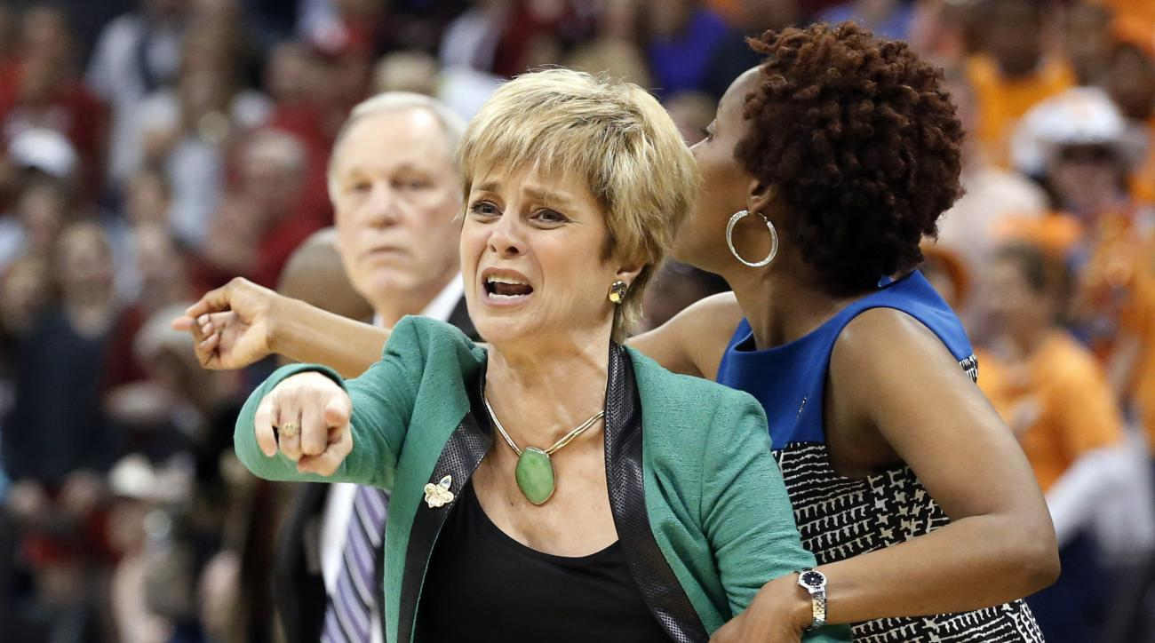FILE - In this April 1, 2013, file photo, Baylor head coach Kim Mulkey gestures during the second half of a regional semi-final game against Louisville in the women's NCAA college basketball tournament in Oklahoma City. Baylor faces Louisville in the regi