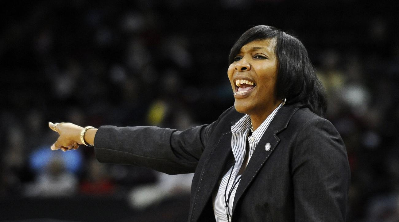 North Carolina Central head coach Vanessa Taylor gestures during the first half of an NCAA college basketball game against South Carolina, Monday, Dec. 1, 2014, in Columbia, S.C. (AP Photo/Rainier Ehrhardt)