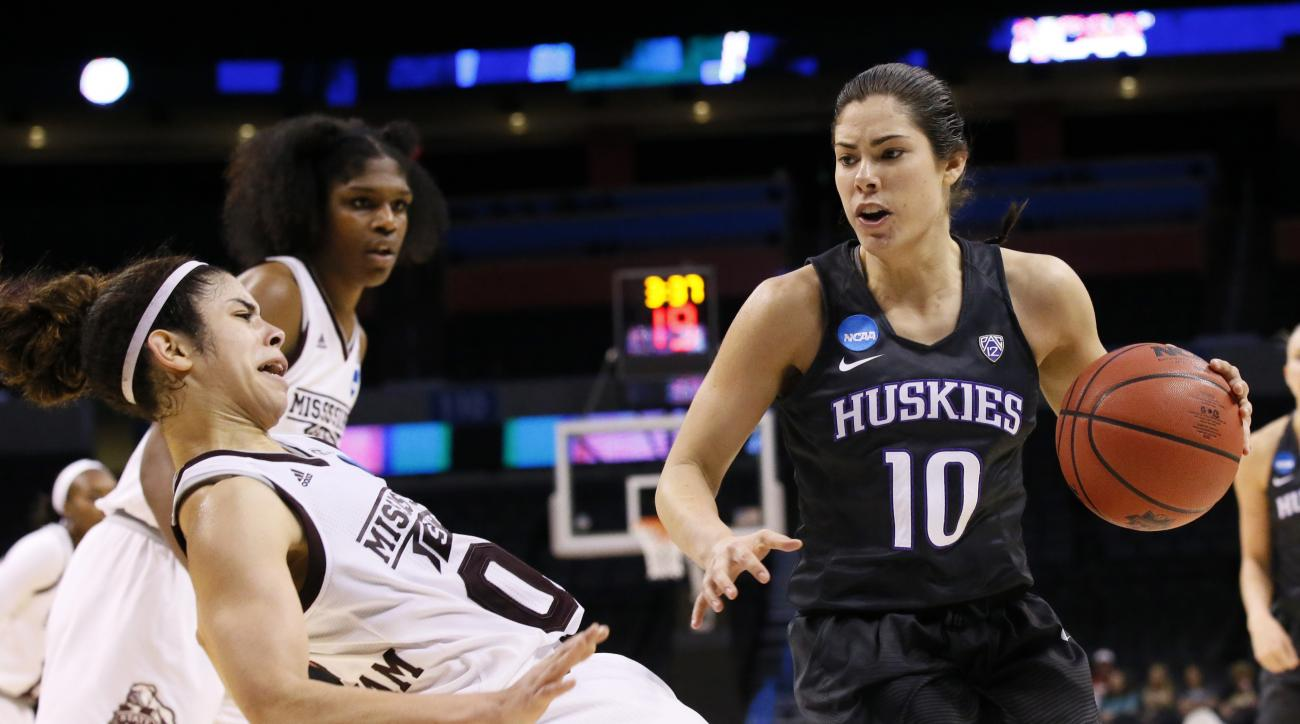 Washington guard Kelsey Plum (10) drives past Mississippi State guard Dominique Dillingham, left, during the second half of a regional semifinal of the NCAA women's college basketball tournament, Friday, March 24, 2017, in Oklahoma City. (AP Photo/Sue Ogr