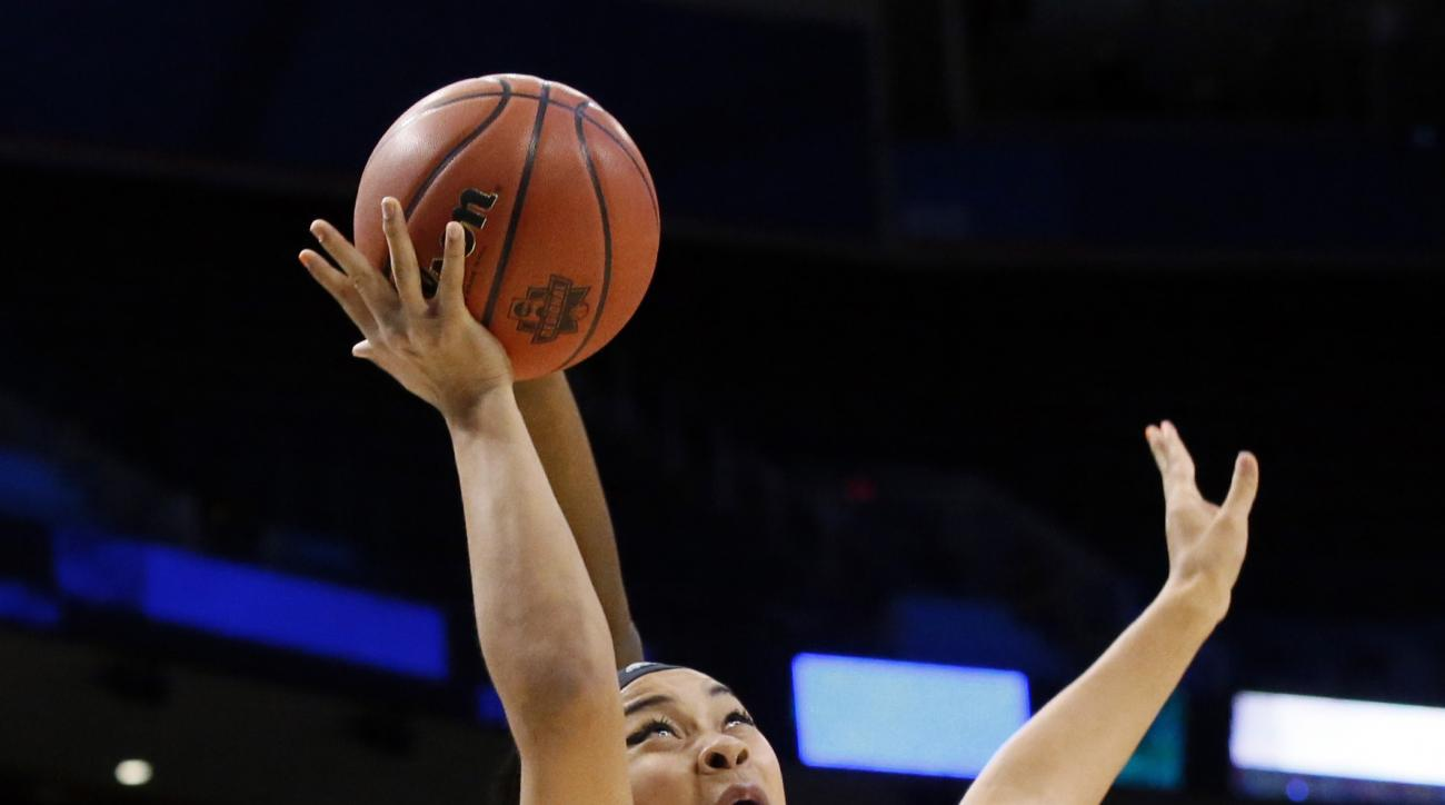 Louisville forward Mariya Moore (4) goes up for a shot after getting past Baylor's Kalani Brown, rear, during the first half of a regional semifinal of the NCAA women's college basketball tournament, Friday, March 24, 2017, in Oklahoma City. (AP Photo/Sue