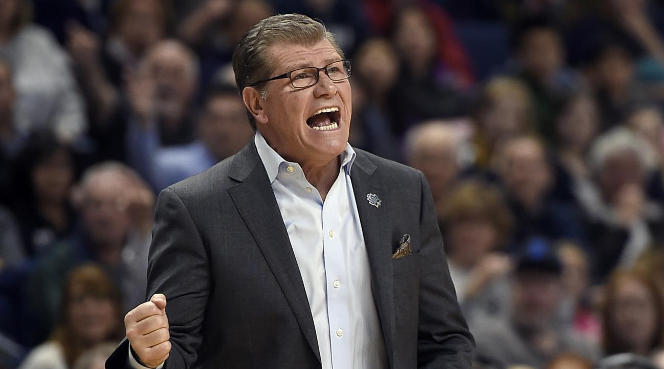 Connecticut head coach Geno Auriemma calls out at player Katie Lou Samuelson during the second half of a regional semifinal game against UCLA in the NCAA women's college basketball tournament, Saturday, March 25, 2017, in Bridgeport, Conn. (AP Photo/Jessi