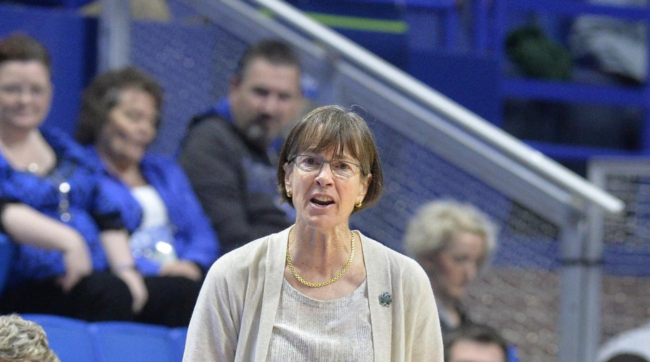Stanford's head coach Tara VanDerveer watches her team during the second half of a regional final of the NCAA women's college basketball tournament against Notre Dame, Sunday, March. 26, 2017, in Lexington, Ky. Stanford won 76-75. (AP Photo/Timothy D. Eas