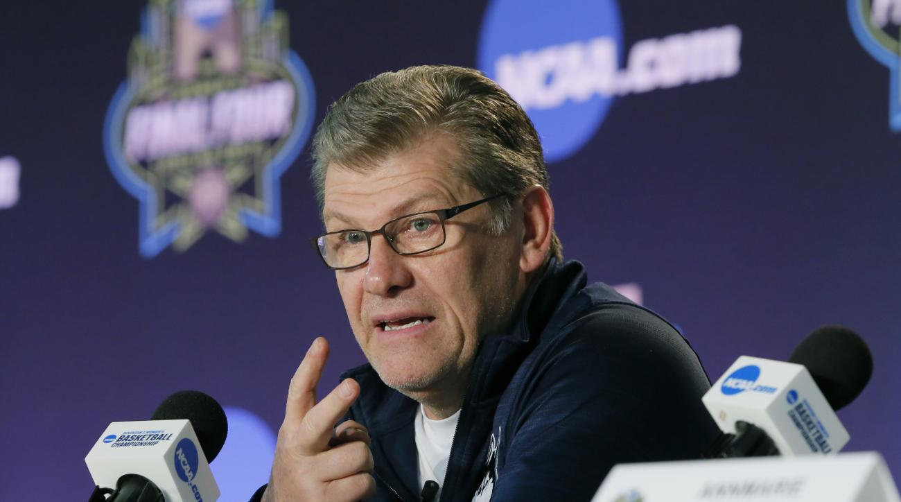 Connecticut head coach Geno Auriemma talks to the media during a news conference at the women's NCAA Final Four college basketball tournament, Thursday, March 30, 2017, in Dallas. Connecticut will play Mississippi State on Friday. (AP Photo/Tony Gutierrez