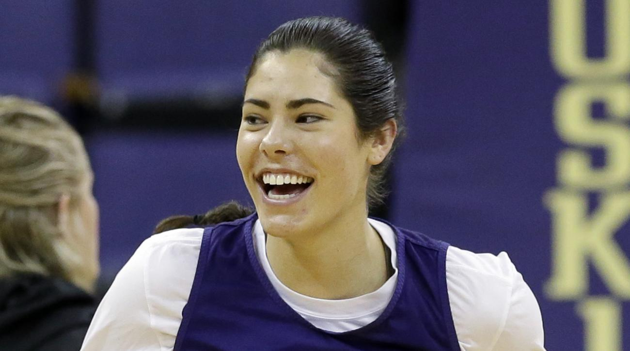 FILE - In this March 17, 2017, file photo, Washington's Kelsey Plum smiles as she runs up court at a practice a day before the team's first round NCAA tournament college basketball game, in Seattle. Plum was selected as The Associated Press women's NCAA c