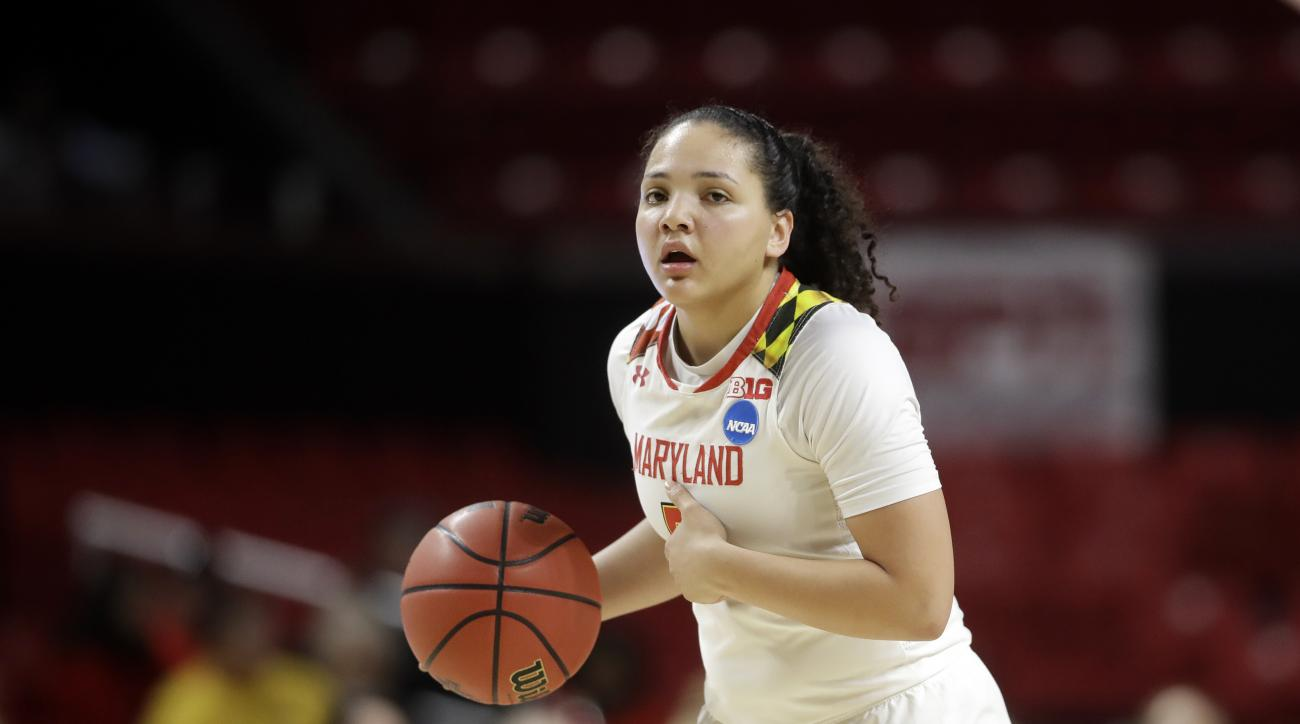 "DELETES REFERENCE TO SLOCUM LEAVING BECAUSE OF ""PERSONAL FAMILY ISSUES "" FILE - In this March 17, 2017, file photo, Maryland guard Destiny Slocum drives the ball in the second half of a first-round game against Bucknell in the women's NCAA college basketb"