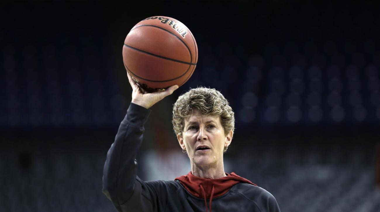 Stanford assistant coach Amy Tucker looks on during practice for a regional semifinal game in the women's NCAA college basketball tournament Friday, March 29, 2013, in Spokane, Wash. Stanford plays Georgia on Saturday. (AP Photo/Elaine Thompson)