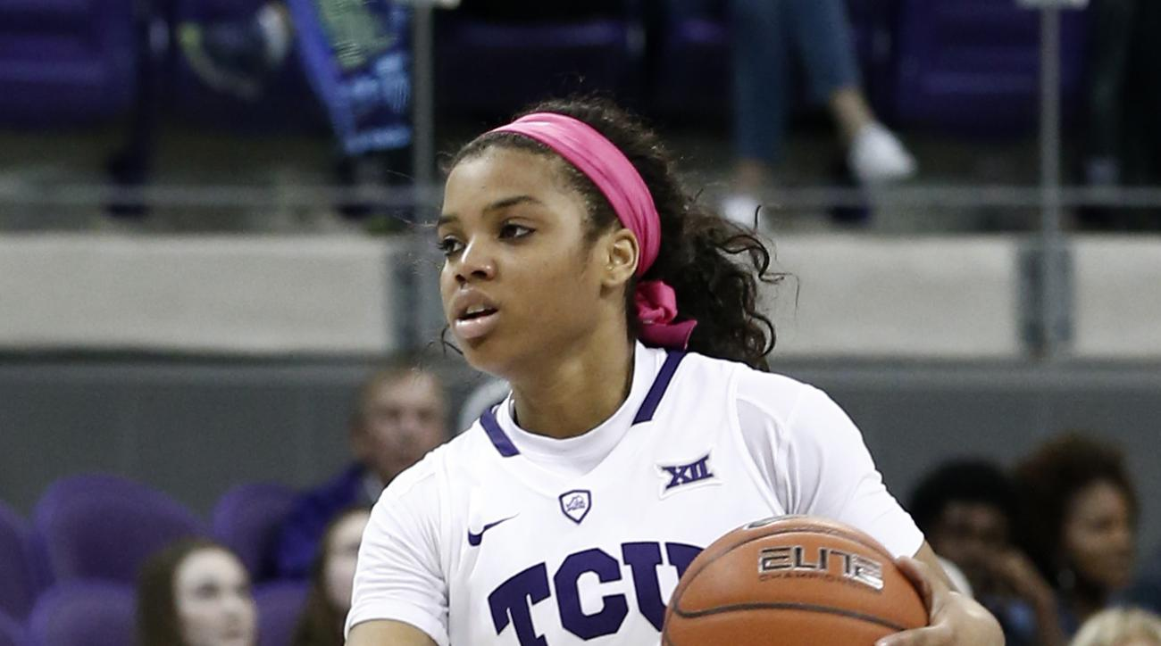 TCU's AJ Alix (23) brings the ball up court against Baylor during the second half of an NCAA college basketball game, Sunday, Feb. 12, 2017, in Fort Worth, Texas. Baylor defeated TCU, 91-73. (AP Photo/Mike Stone)