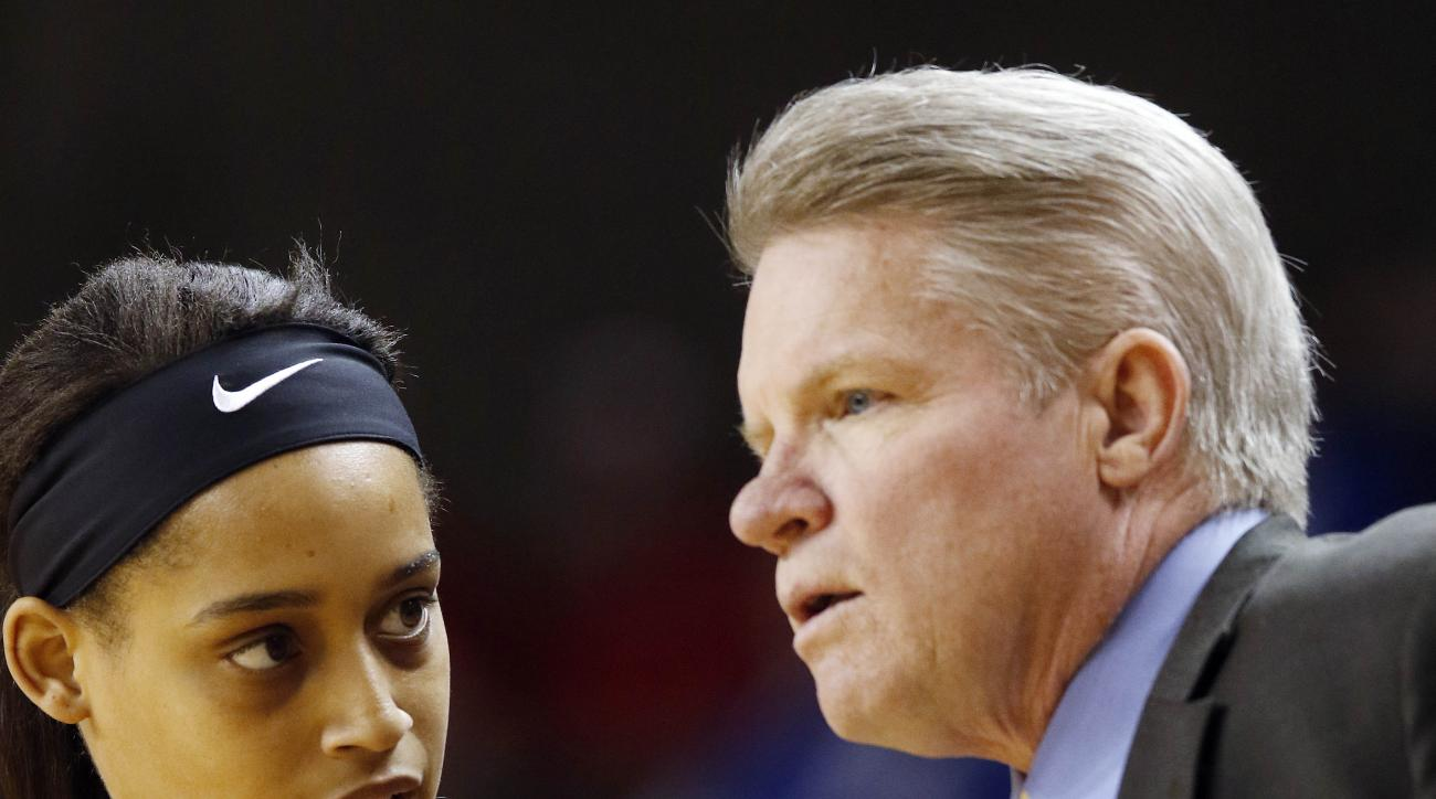 FILE - In this March 20, 2015 file photo, Iowa State's Nikki Moody (4) consults with head coach Bill Fennelly during the first half of a women's college basketball game in the first round of the NCAA tournament in Lexington, Ky. Former Iowa State basketba