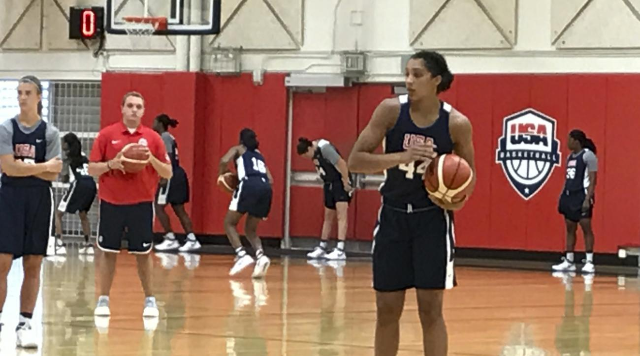 Connecticut's Gabby Williams holds the basketball during a drill on the second day of the inaugural Under-23 USA Basketball training camp in Colorado Springs, Colo., Tuesday, Aug. 1, 2017. (AP Photo/Doug Feinberg)