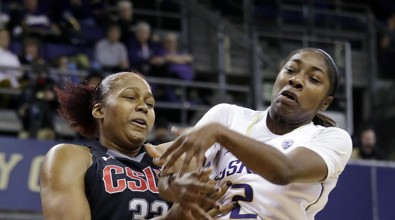 CSUN's Channon Fluker, left, and Washington's Aarion McDonald fight for a loose ball in the first half of an NCAA college basketball game Wednesday, Dec. 7, 2016, in Seattle. (AP Photo/Elaine Thompson)