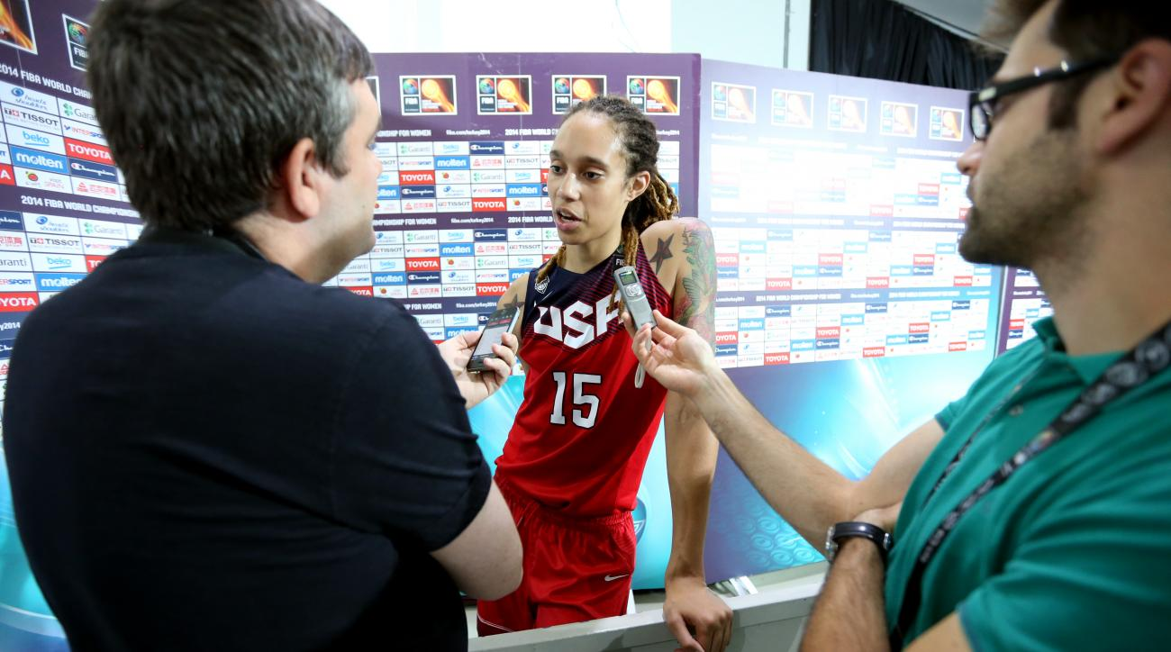 ISTANBUL, TURKEY - OCTOBER 4: Brittney Griner #15 of the Women's Senior U.S. National Team is interviewed after game against Australia during the semifinal round of the 2014 FIBA World Championships on October 4, 2014 in Istanbul, Turkey. (Photo by Ned Di