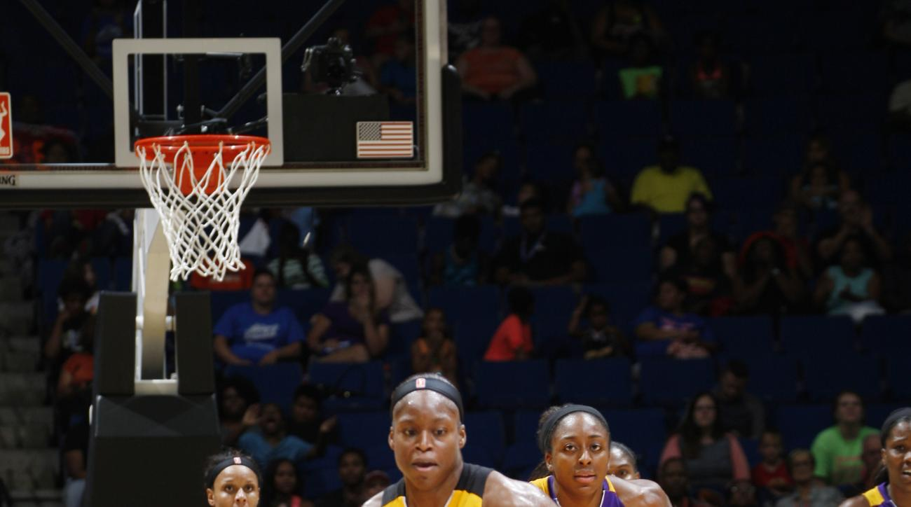 TULSA, OK - JULY 11:  Karima Christmas #13 of the Tulsa Shock handles the ball against the Los Angeles Sparks in a WNBA game on July 11, 2015 at the BOK Center in Tulsa, Oklahoma.  (Photo by Shane Bevel/NBAE via Getty Images)