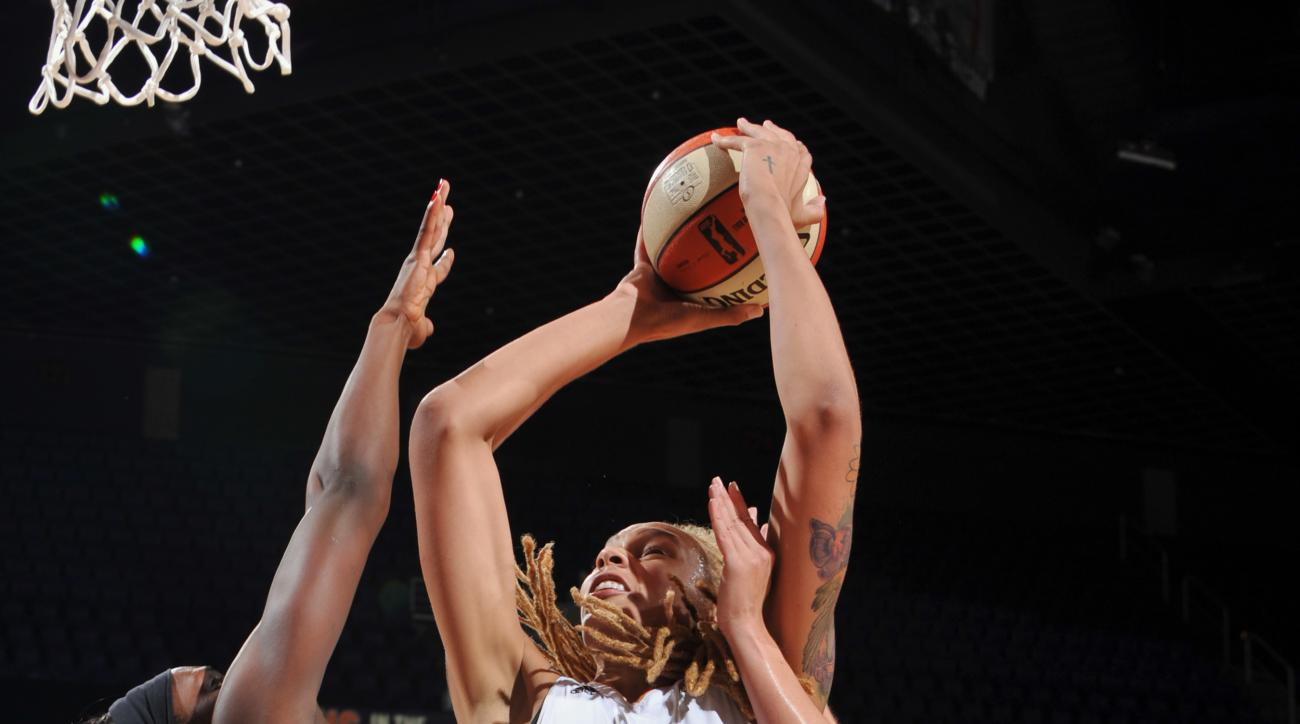 PHOENIX, AZ - JULY 12: Brittney Griner #42 of the Phoenix Mercury shoots against the Seattle Storm on July 12, 2015 at US Airways Center in Phoenix, Arizona. (Photo by Barry Gossage/NBAE via Getty Images)
