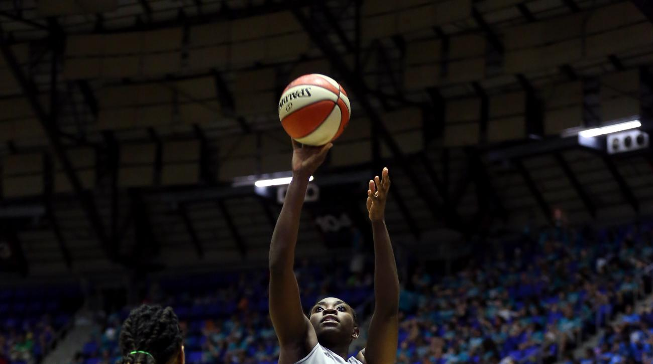SAN ANTONIO, TX - JULY 21: Sophia Young-Malcolm #33 of the San Antonio Stars shoots against the Indiana Fever on July 21, 2015 at Freeman Coliseum in San Antonio, Texas.  (Photo by Rebecca George/NBAE via Getty Images)