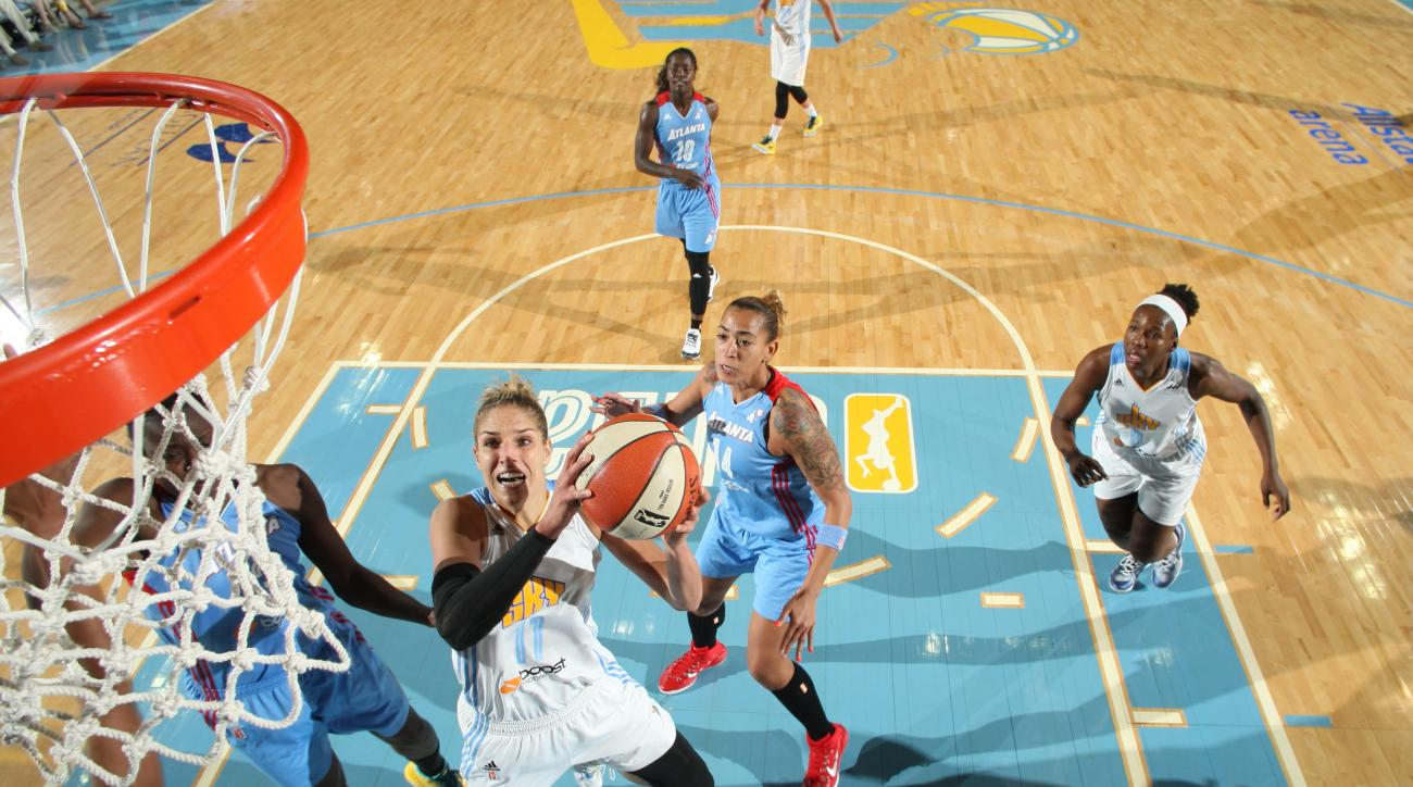ROSEMONT, IL - JULY 21: Elena Delle Donne #11 of the Chicago Sky goes for the lay up against the Atlanta Dream during the game on July 21, 2015 at the Allstate Arena in Rosemont, Illinois. (Photo by Gary Dineen/NBAE via Getty Images)
