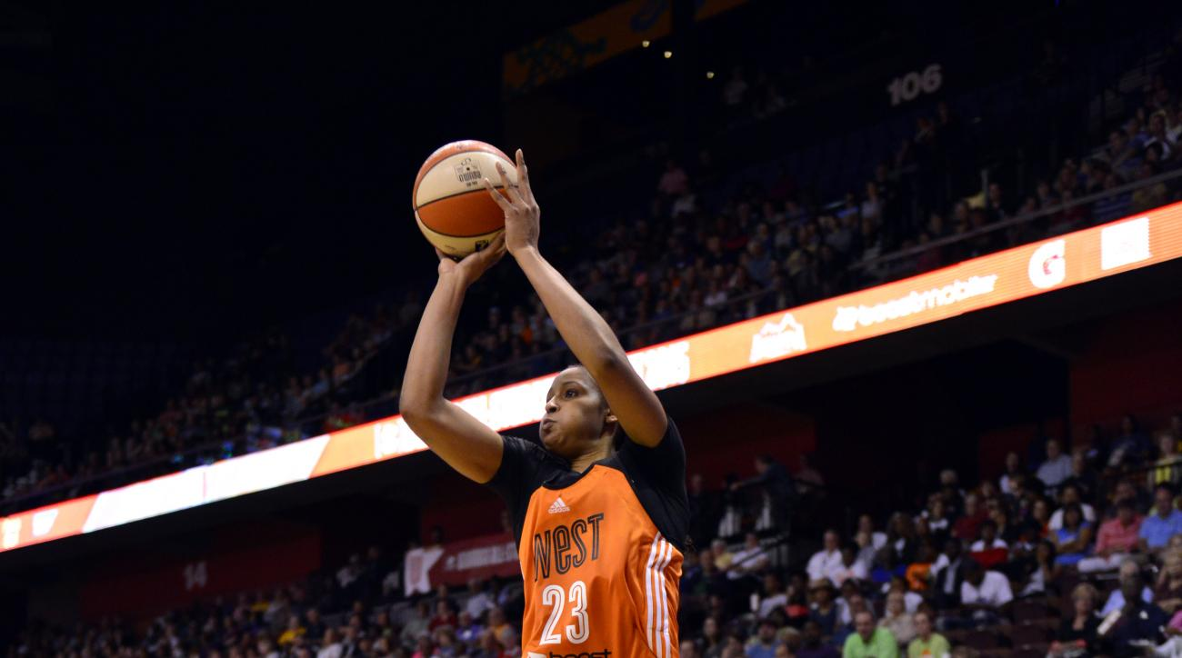UNCASVILLE, CT - JULY 25: Maya Moore #23 of the Western Conference All Stars shoots the ball against the Eastern Conference All Stars during the Boost Mobile WNBA All-Star 2015 Game at the Mohegan Sun Arena on July 25, 2015 in Uncasville, Connecticut. (Ph