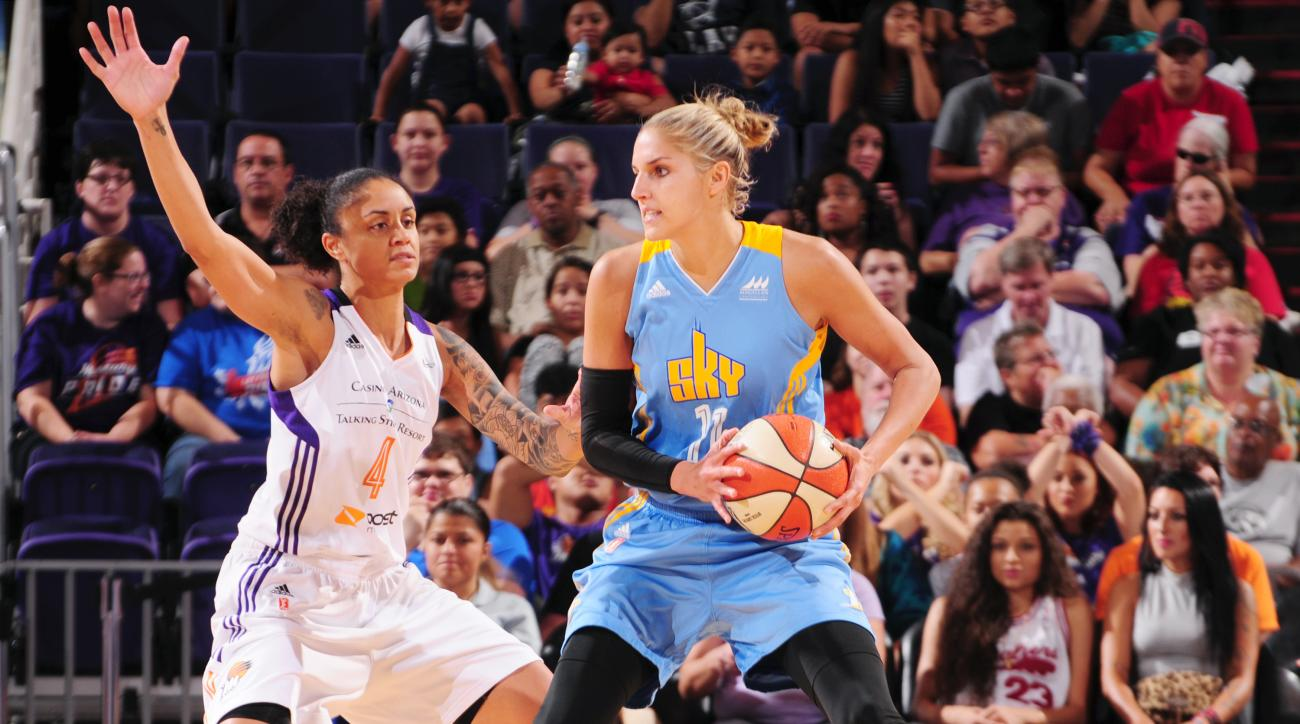 PHOENIX, AZ - JULY 28: Elena Delle Donne #11 of the Chicago Sky handles the ball against the Phoenix Mercury on July 28, 2015 at US Airways Center in Phoenix, Arizona. (Photo by Barry Gossage/NBAE via Getty Images)