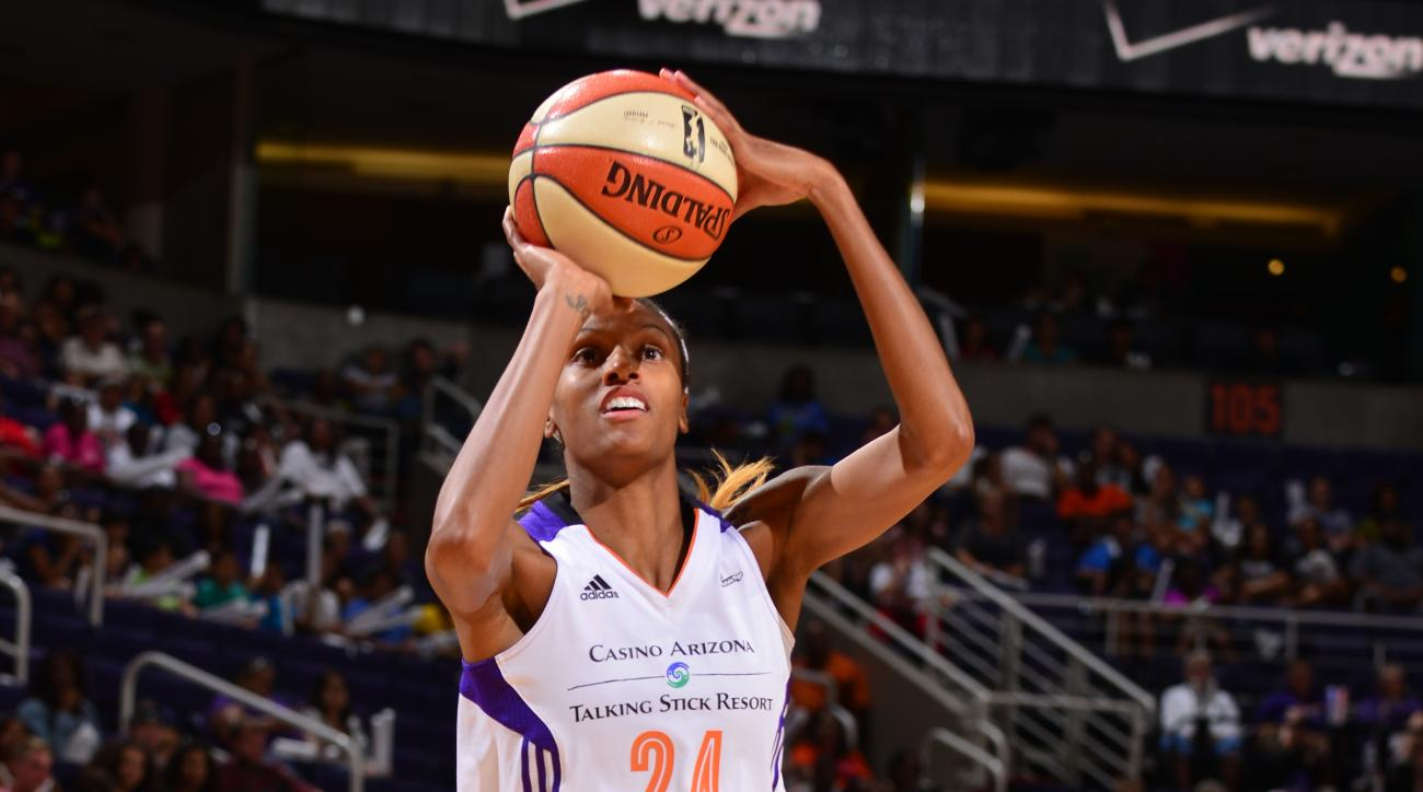 PHOENIX, AZ - AUGUST 4: DeWanna Bonner #24 of the Phoenix Mercury takes a shot against the Tulsa Shock on August 4, 2015 at US Airways Center in Phoenix, Arizona. (Photo by Barry Gossage/NBAE via Getty Images)