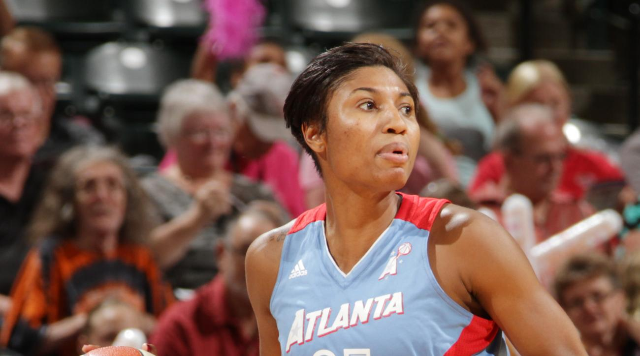 INDIANAPOLIS - AUGUST 7: Angel McCoughtry #35 of the Atlanta Dream handles the ball against the Indiana Fever at Bankers Life Fieldhouse on August 7, 2015 in Indianapolis, Indiana.  (Photo by Ron Hoskins/NBAE via Getty Images)