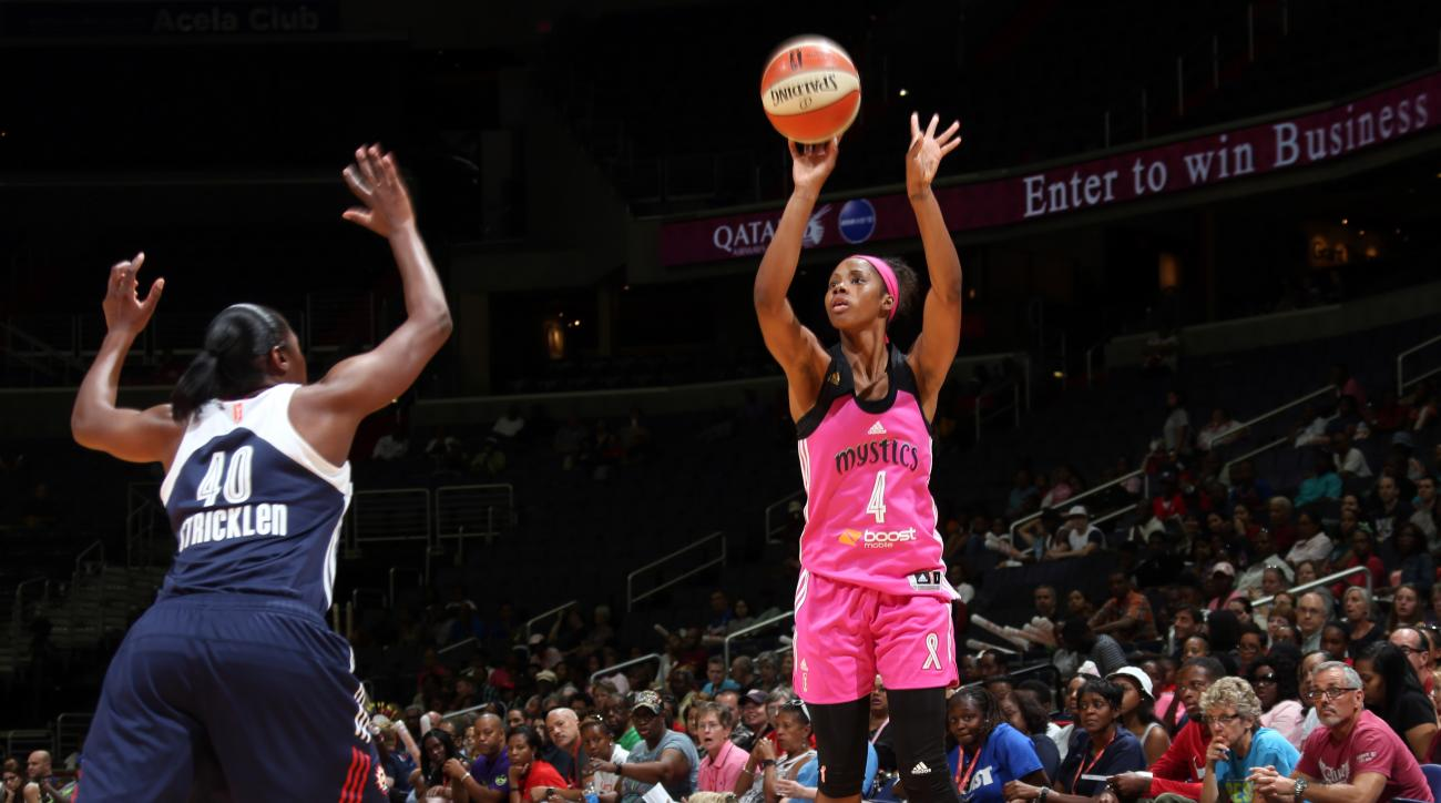 WASHINGTON, DC - AUGUST 9: Tayler Hill #4 of the Washington Mystics shoots the ball against the Connecticut Sun on August 9, 2015 at the Verizon Center in Washington, DC. (Photo by Ned Dishman/NBAE via Getty Images)