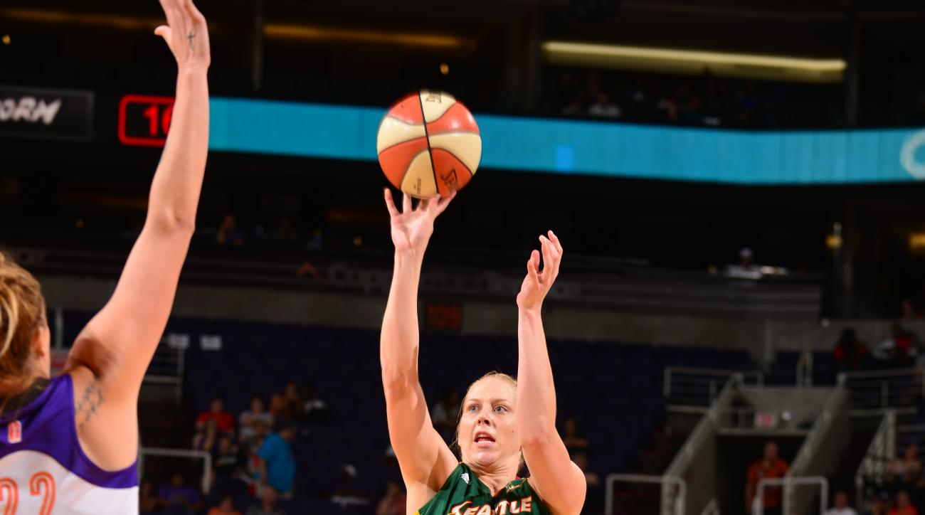 PHOENIX, AZ - AUGUST 12: Abby Bishop #5 of the Seattle Storm takes a shot against the Phoenix Mercury on August 12, 2015 at US Airways Center in Phoenix, Arizona. (Photo by Barry Gossage/NBAE via Getty Images)