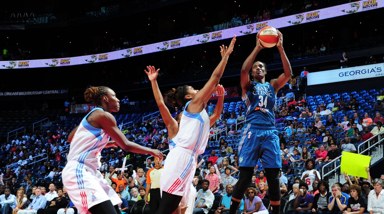 ATLANTA, GA - AUGUST 14: Sylvia Fowles #34 of the Minnesota Lynx shoots the ball against the Atlanta Dream on August 14, 2015 at Philips Arena in Atlanta, Georgia.  (Photo by Scott Cunningham/NBAE via Getty Images)