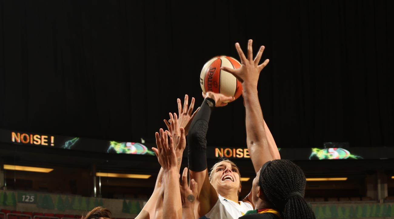 SEATTLE, WA - AUGUST 14: Elena Delle Donne #11 of the Chicago Sky shoots the ball against the Seattle Storm on August 14, 2015 at Key Arena in Seattle, Washington. (Photo by Joshua Huston/NBAE via Getty Images)
