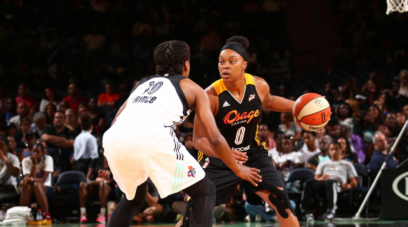 NEW YORK, NY - AUGUST 15: Odyssey Sims #0 of the Tulsa Shock drives to the basket against the New York Liberty on August 15, 2015 at Madison Square Garden, New York City , New York.  (Photo by Nathaniel S. Butler/NBAE via Getty Images)