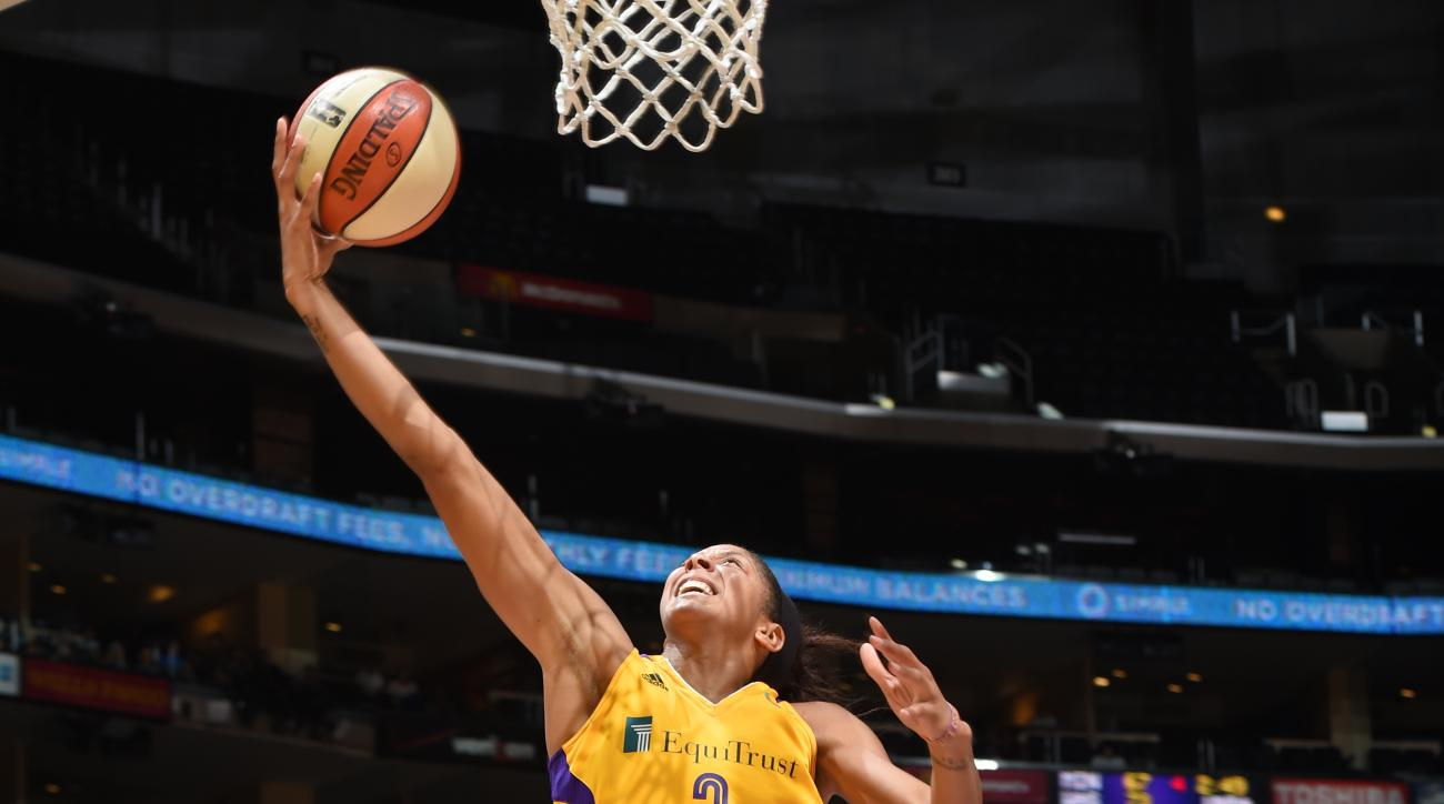 LOS ANGELES, CA - AUGUST 16: Candace Parker #3 of the Los Angeles Sparks shoots the ball against the Chicago Sky on August 16, 2015 at Staples Center in Los Angeles, California. (Photo by Adam Pantozzi/NBAE via Getty Images)