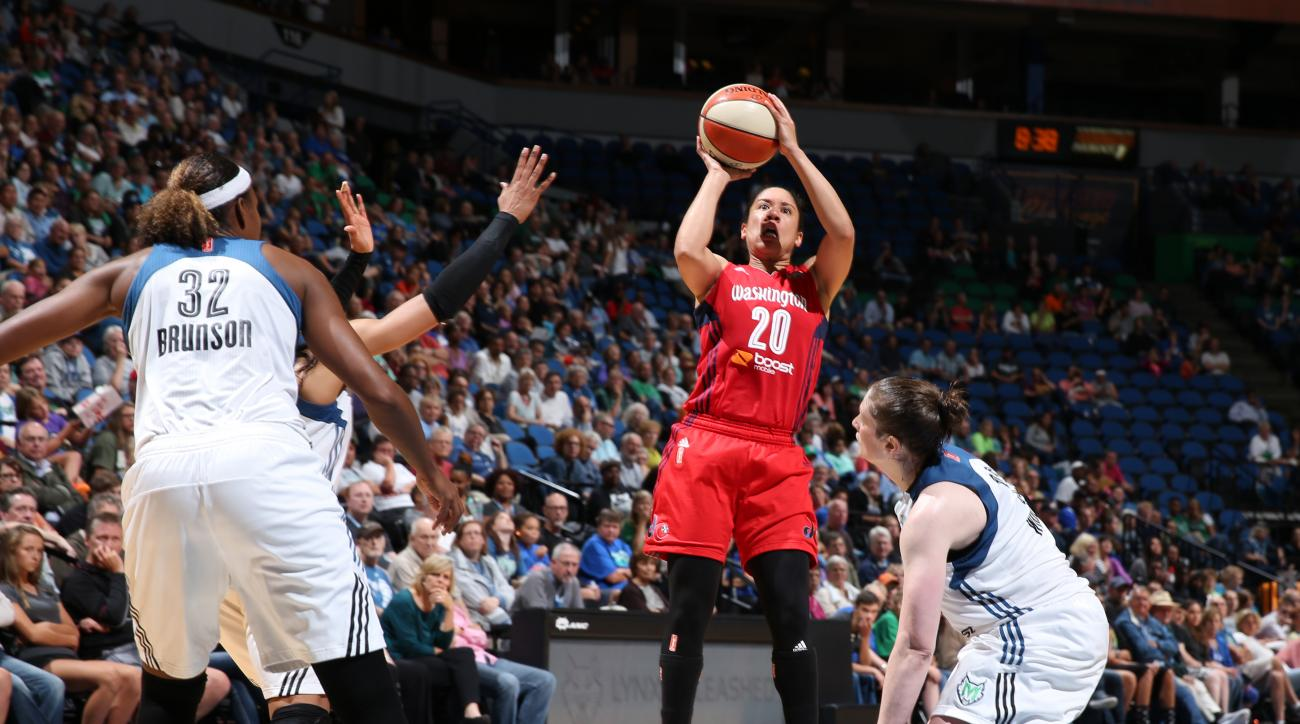 MINNEAPOLIS, MN - AUGUST 19: Kara Lawson #20 of the Washington Mystics shoots the ball against the Minnesota Lynx on August 19, 2015 at Target Center in Minneapolis, Minnesota.  (Photo by David Sherman/NBAE via Getty Images