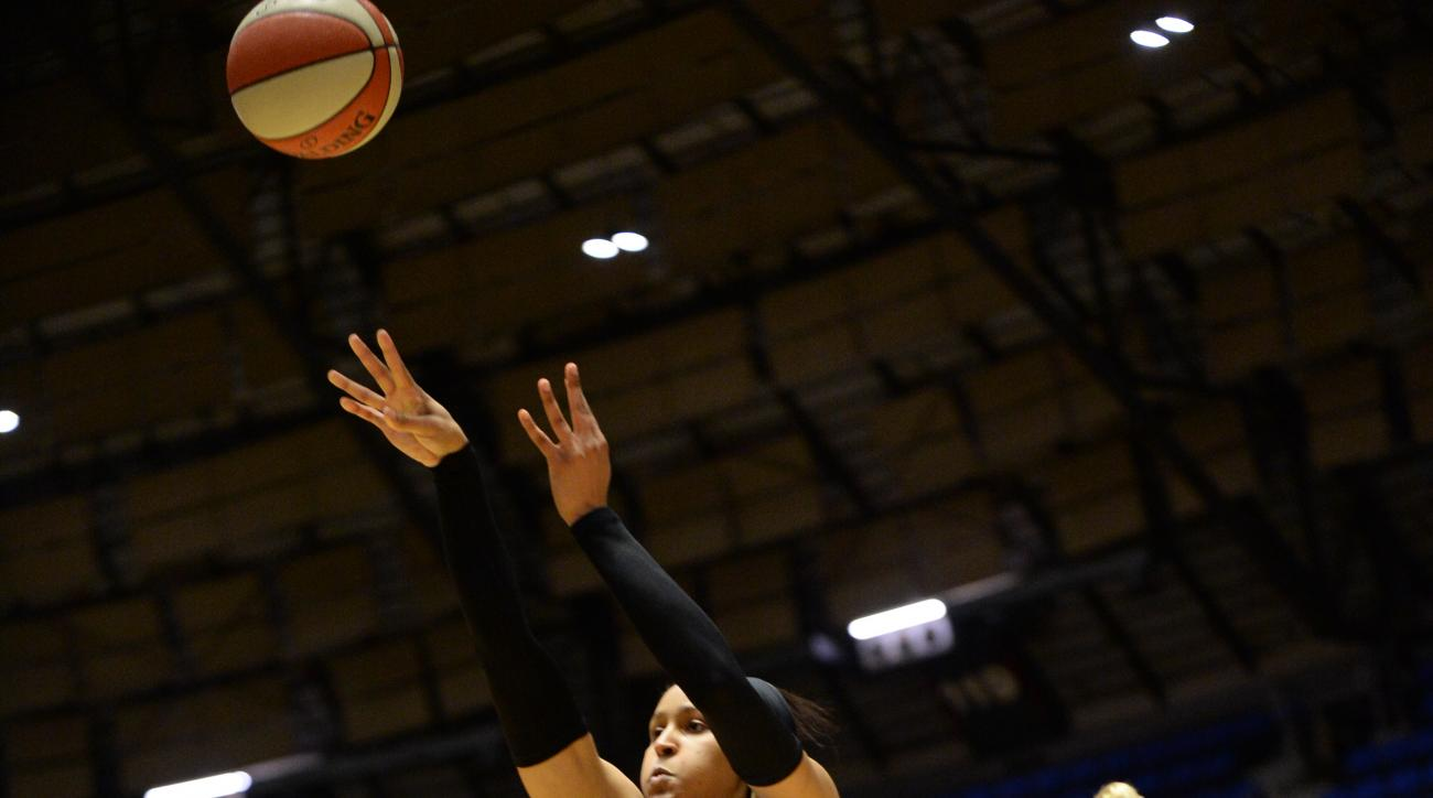SAN ANTONIO - AUGUST 21: Maya Moore #23 of the Minnesota Lynx shoots the ball against the San Antonio Stars on August 21, 2015 at the Freeman Coliseum in San Antonio, Texas.