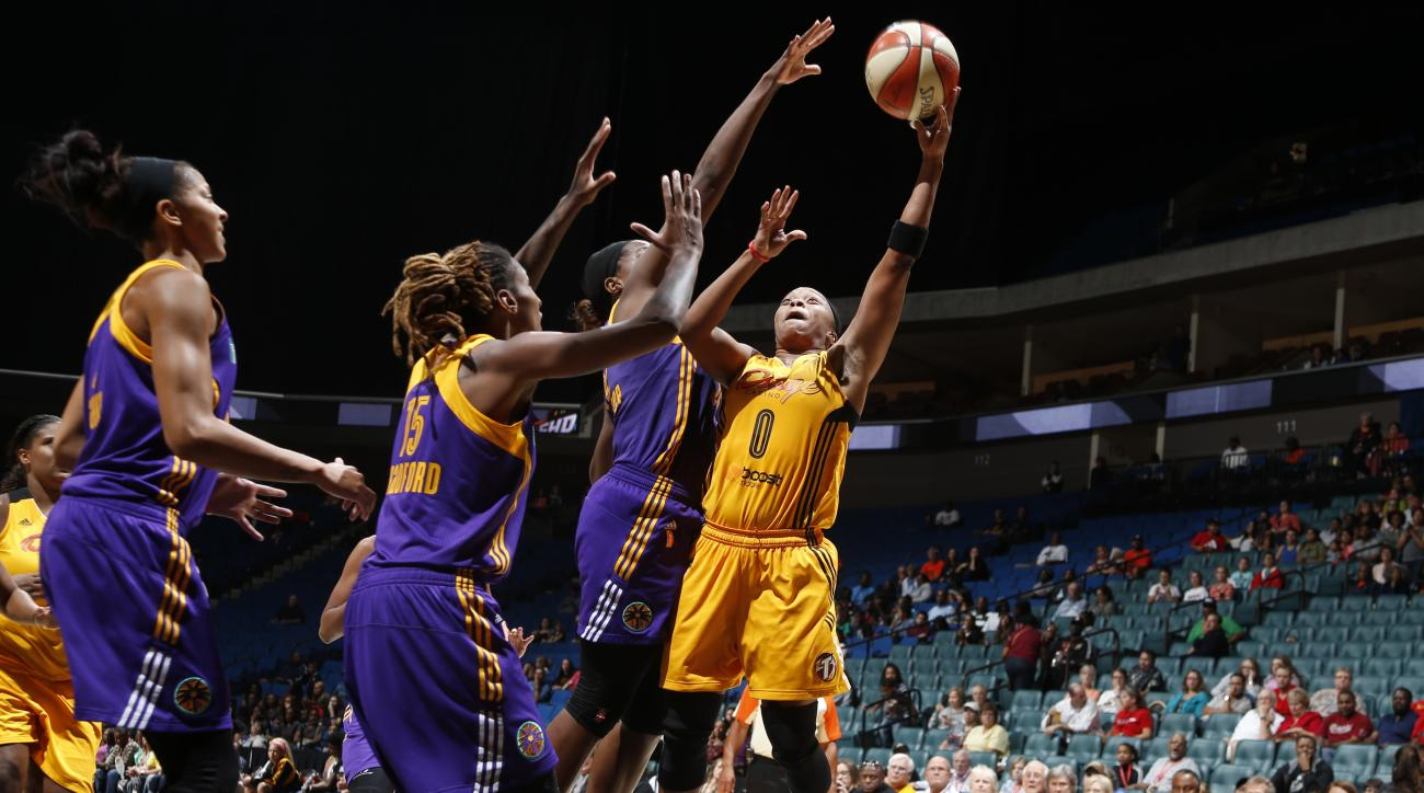 TULSA, OK - AUGUST 28: Odyssey Sims #0 of the Tulsa Shock shoots the ball against the Los Angeles Sparks on August 28, 2015 at the BOK Center in Tulsa, Oklahoma.  (Photo by Shane Bevel/NBAE via Getty Images)