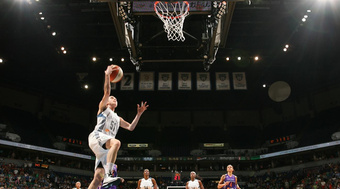 MINNEAPOLIS, MN - AUGUST 30: Anna Cruz #51 of the Minnesota Lynx goes for the lay up against the Phoenix Mercury on August 30, 2015 at Target Center in Minneapolis, Minnesota.  (Photo by Jordan Johnson/NBAE via Getty Images)