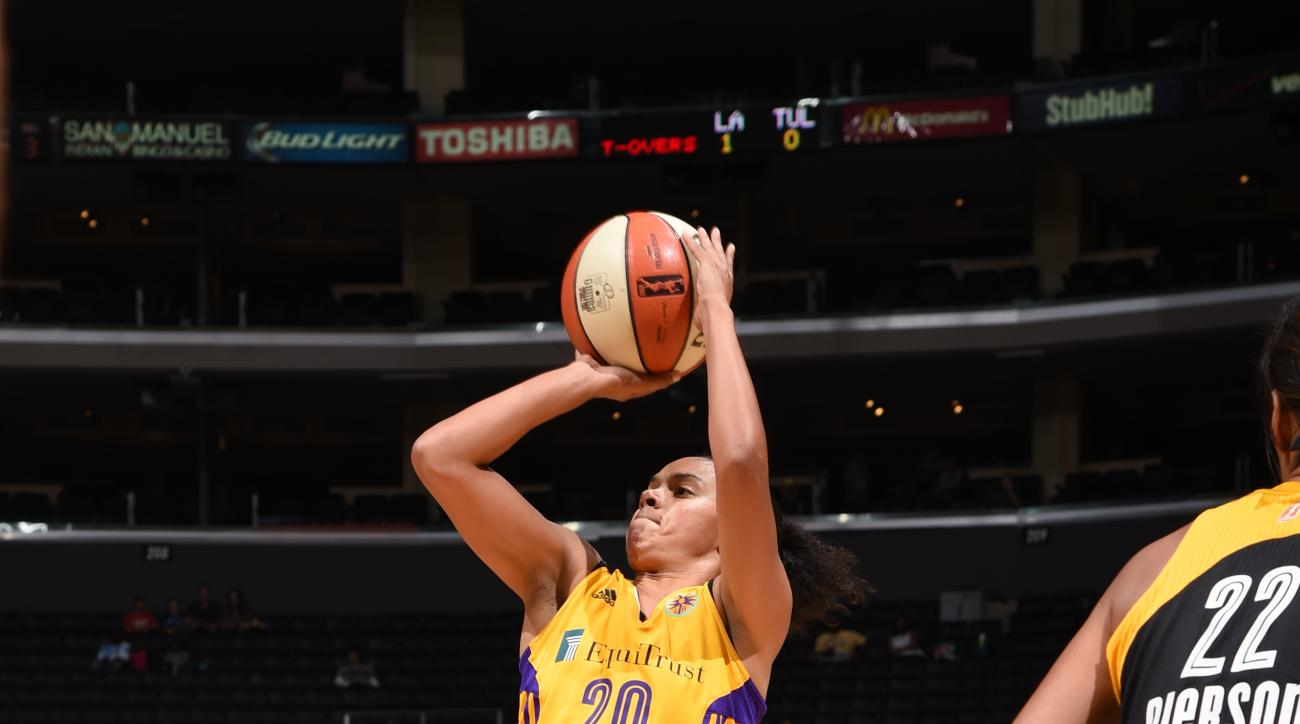 LOS ANGELES, CA - SEPTEMBER 6: Kristi Toliver #20 of the Los Angeles Sparks shoots the ball against the Tulsa Shock on September 6, 2015 in Los Angeles, California.  (Photo by Adam Pantozzi/NBAE via Getty Images)