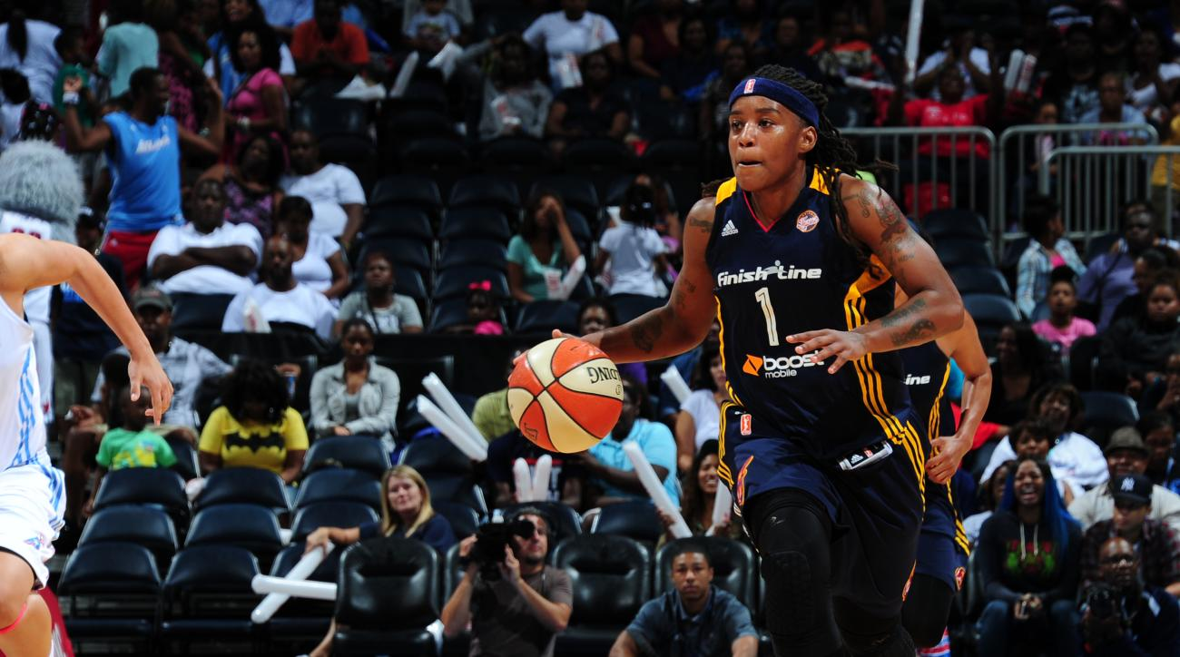 ATLANTA, GA - SEPTEMBER 11: Shavonte Zellous #1 of the Indiana Fever handles the ball against the Atlanta Dream on September 11, 2015 at Philips Arena in Atlanta, Georgia.  (Photo by Scott Cunningham/NBAE via Getty Images)