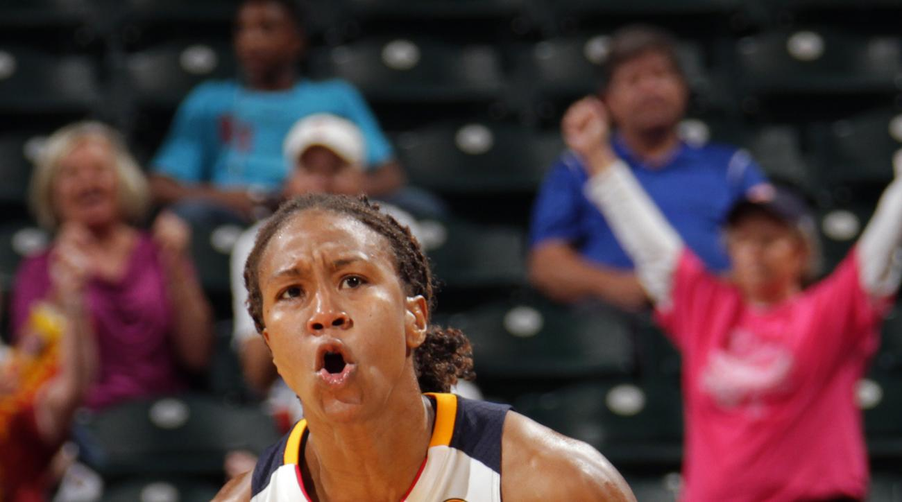 INDIANAPOLIS - SEPTEMBER 19:  Tamika Catchings #24 of the Indiana Fever celebrates against the Chicago Sky in Game Two of the WNBA Eastern Conference Semifinals at Bankers Life Fieldhouse on September 19, 2015 in Indianapolis, Indiana.  (Photo by Ron Hosk