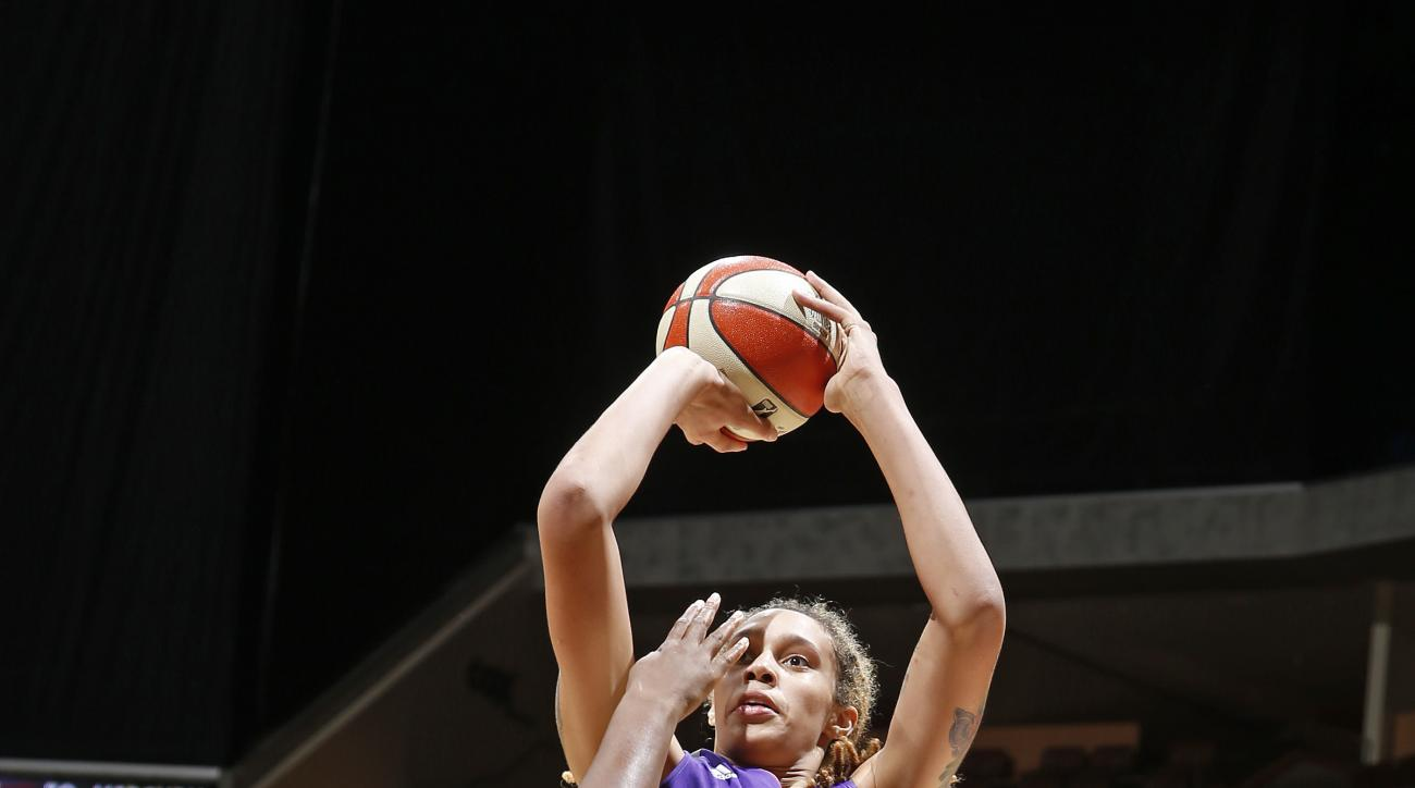 TULSA, OK - SEPTEMBER 19:  Brittney Griner #42 of the Phoenix Mercury shoots the ball against the Tulsa Shock during Game Two of the WNBA Western Conference Semifinals on September 19, 2015 at the BOK Center in Tulsa, Oklahoma. (Photo by Shane Bevel/NBAE