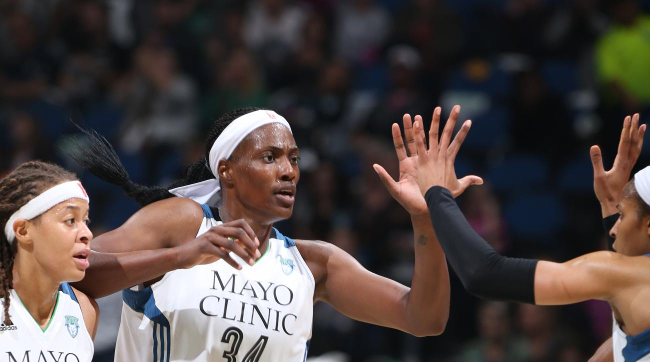MINNEAPOLIS, MN - OCTOBER 6:  Sylvia Fowles #34 of the Minnesota Lynx celebrates during Game Two of the 2015 WNBA Finals against the Indiana Fever on October 6, 2015 at Target Center in Minneapolis, Minnesota.  (Photo by David Sherman/NBAE via Getty Image