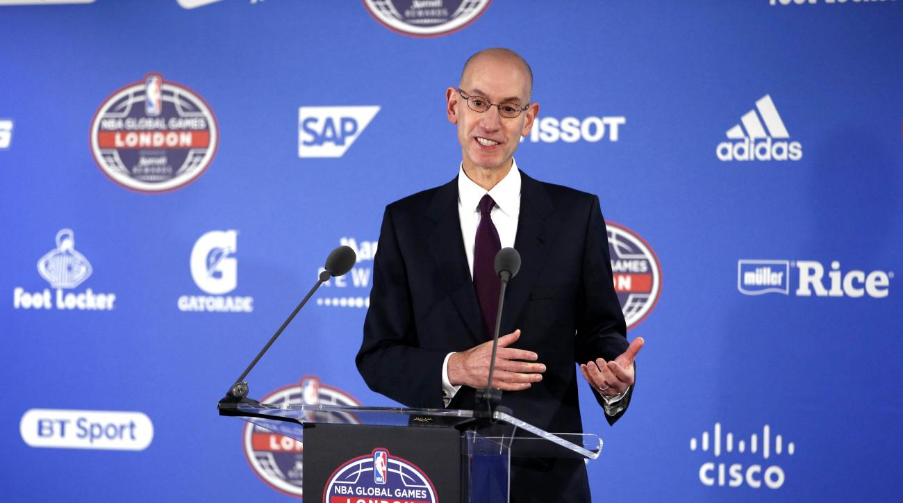 LONDON, ENGLAND - JANUARY 14: NBA Commissioner Adam Silver speaks to the media prior to the game of the Orlando Magic against the Toronto Raptors as part of the 2016 Global Games London on January 14, 2016 at The O2 Arena in London, England. (Photo by Gre