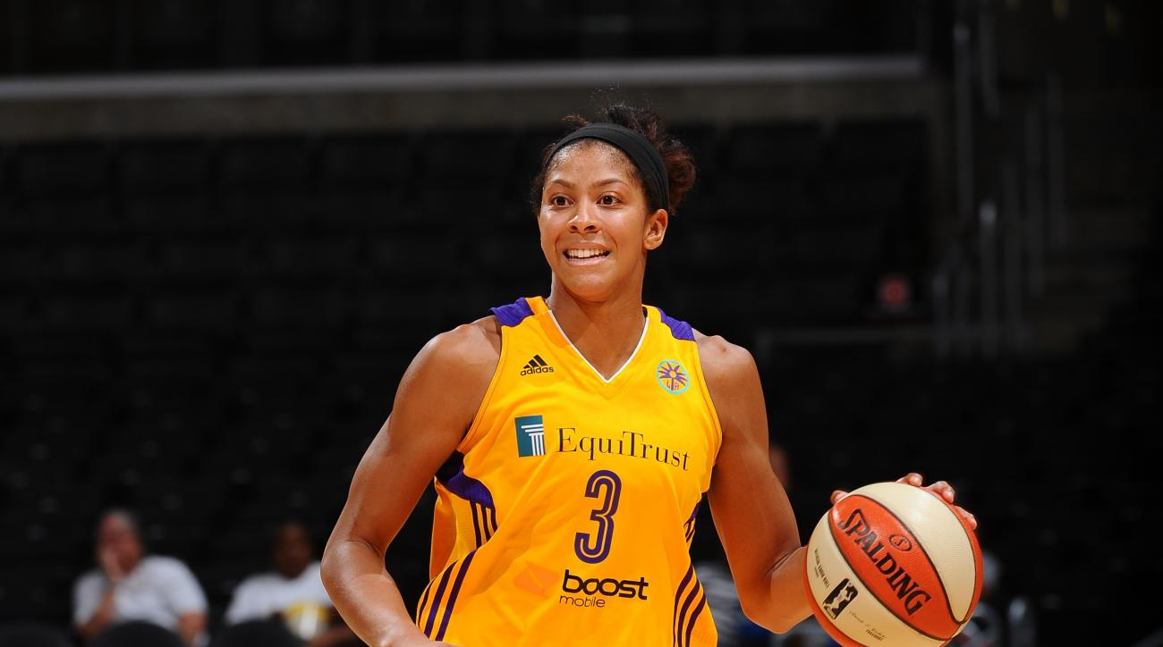 LOS ANGELES, CA - AUGUST 18:  Candace Parker #3 of the Los Angeles Sparks handles the ball against the Indiana Fever at Staples Center on August 18, 2015 in Los Angeles, California.  (Photo by Juan Ocampo/NBAE via Getty Images)