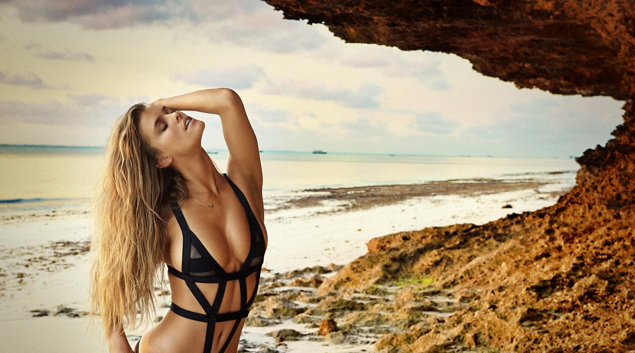 Nina Agdal was photographed by Ruven Afanador in Zanzibar. Swimsuit by Minimale Animale.