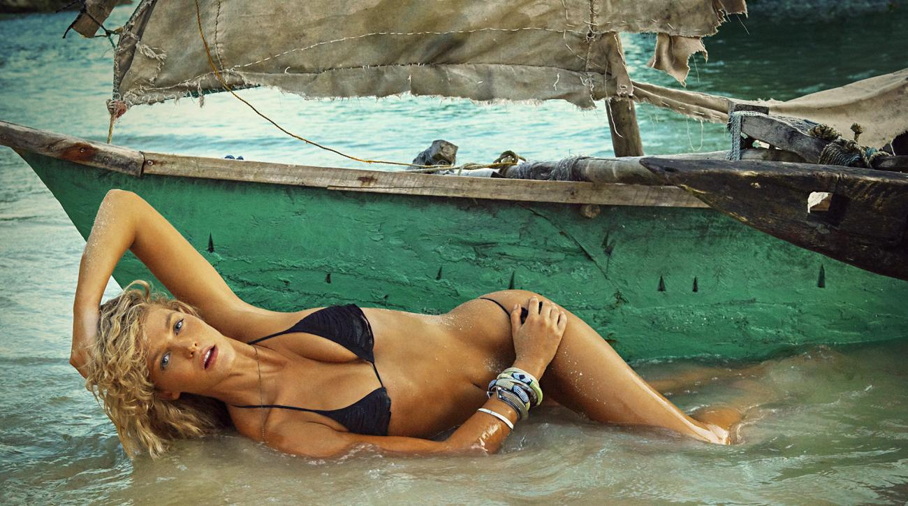 Erin Heatherton was photographed by Ruven Afanador in Zanzibar. Swimsuit by INDAH.