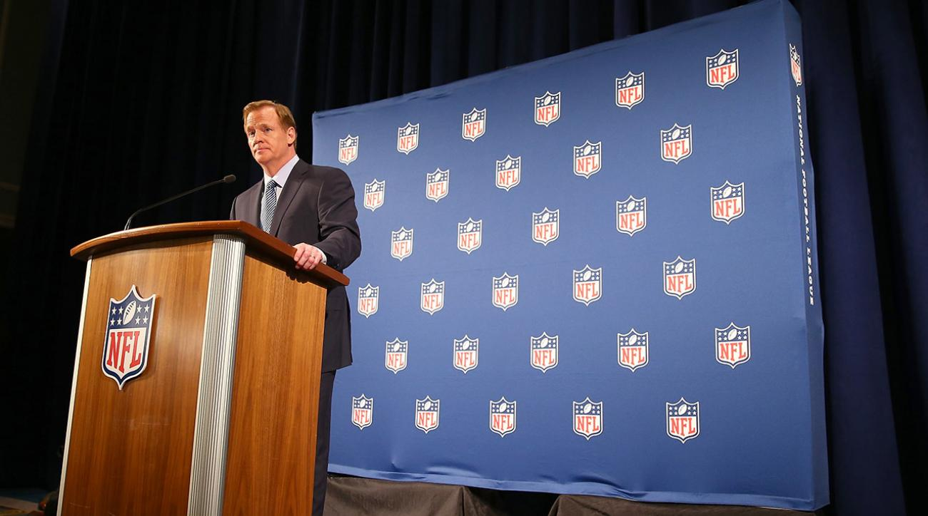 Roger Goodell speaks at his press conference where he addresses domestic abuse issues in the NFL.